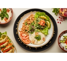 Chawarma poulet- tabbouli-hommos